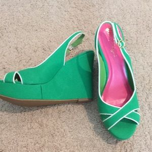 Discontinued Lilly Pulitzer green & white wedges
